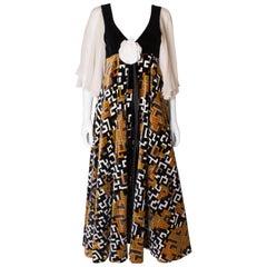 Vintage Print Gina Fratini Velvet and Silk Gown
