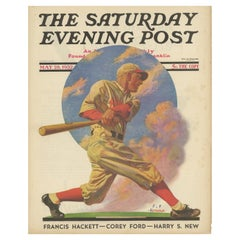 Vintage Print of a Baseball Batter 'The Saturday Evening Post' '1932'