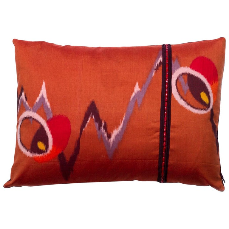 Vintage Printed Japanese Silk Pillow For Sale