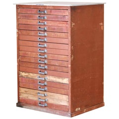 Vintage Red Printer's Wood Chest of Drawers, Industrial Design from the 1940s