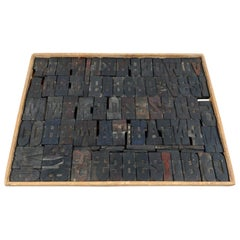 Vintage Printing Blocks in a Wooden Frame, 20th Century