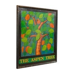 Vintage Pub Sign, English, Pine, Hand Painted, 'The Aspen Tree', circa 1950