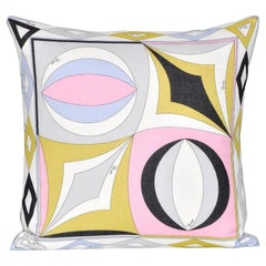 Vintage Rare Pucci Geometric Scarf Irish Linen Cushion Pillow Pink Blue Yellow