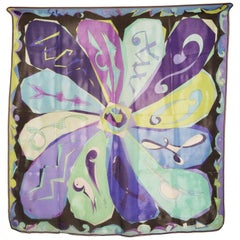 Vintage Pucci Silk chiffon Scarf in hays  blues circa 1970