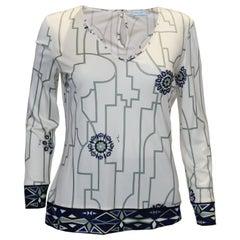 Vintage Pucci Silk Jersey V Neck Top