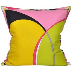 Vintage Pucci Yellow Pink Green Geometric Silk Scarf Irish Linen Pillow Cushion