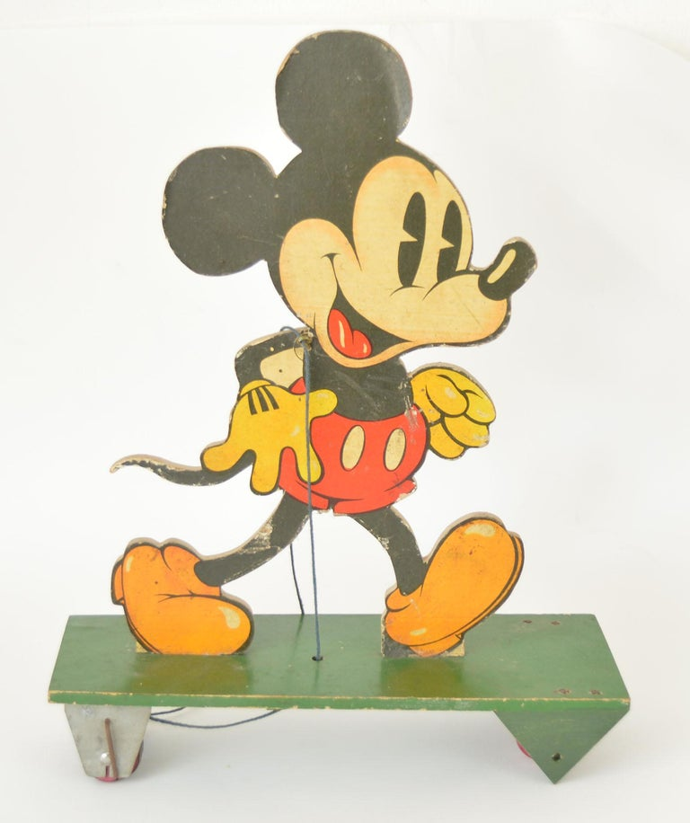 Other Vintage Pull Along Mickey Mouse on Wheels, 1930s For Sale