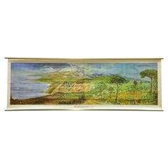 Vintage Pull-Down Cozyness Wall Chart Mediterranean Landscape Island Sicily