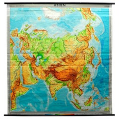 Vintage Pull-Down Map Asia China Japan India Russia Wall Chart Poster Print