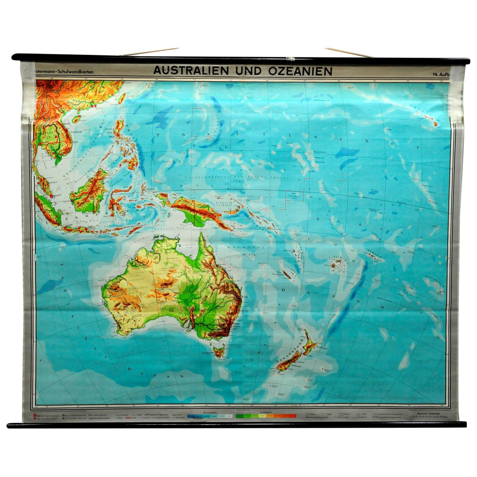 Vintage Pull Down Map Australia Oceania New Zealand Wall Chart Poster Print