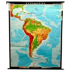 vintage pull down map South America American continent