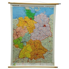Vintage Pull-Down School Map Germany Wall Chart Poster Print
