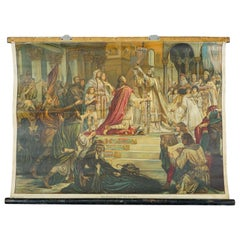 Vintage Pull Down Wall Chart About the Coronation of Carl the Great