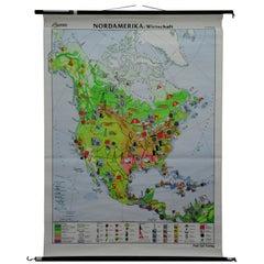 Vintage Pull Down Wall Chart North America Economy Finances