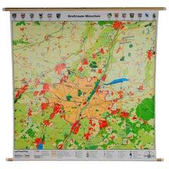 Vintage Pull-Down Wall Chart Regional Map Poster Print Munich Bavaria City