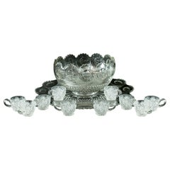 Vintage Punch Bowl, Set of Ten Cups, English, Mid-20th Century
