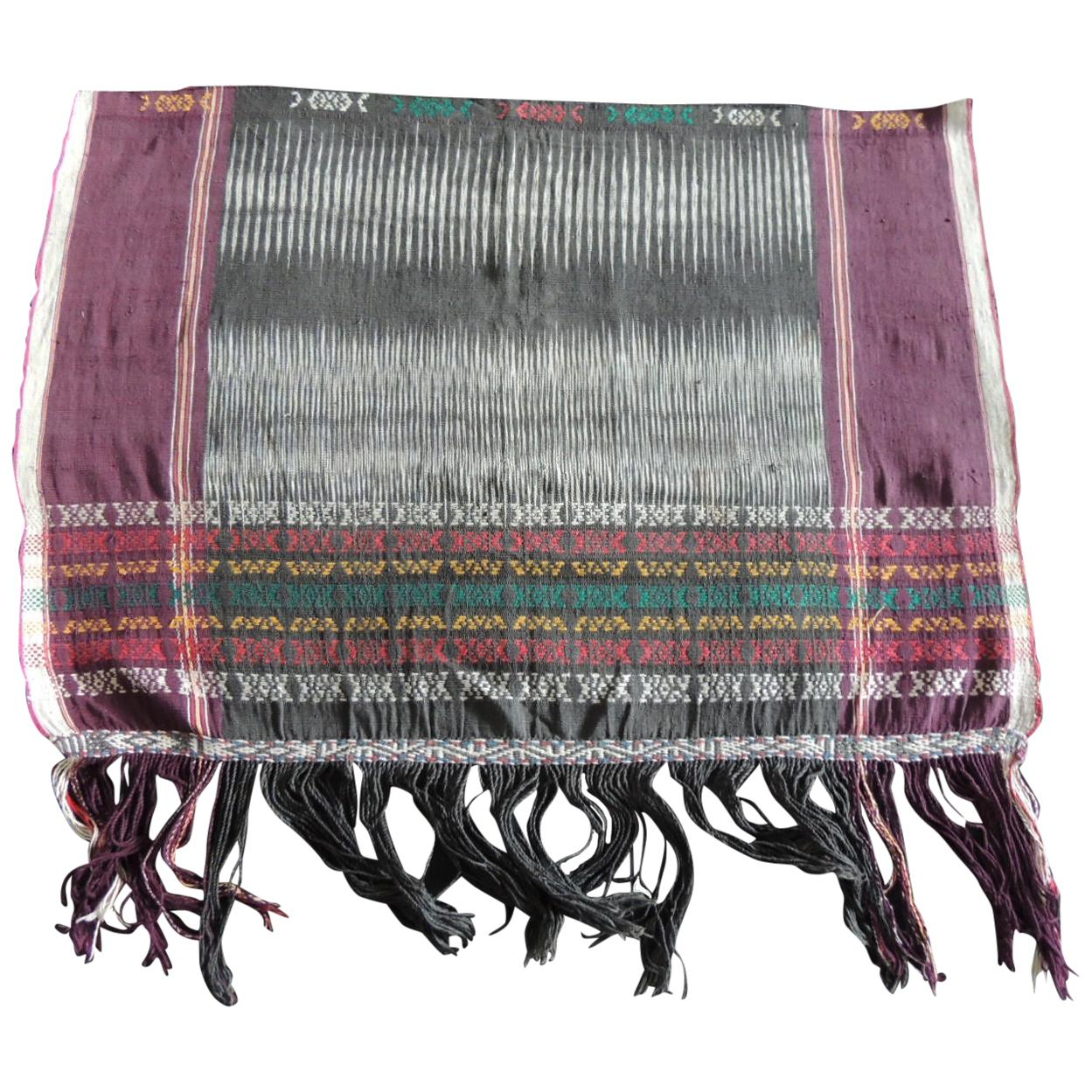 Vintage Purple and Black Woven Ikat Textile Fragment with Fringes