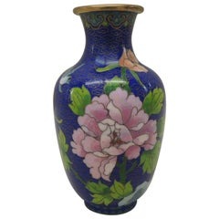 Vintage Purple and Blue Cloisonné Floral Vase