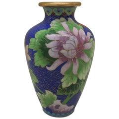 Vintage Purple and Blue Cloisonne Floral Vase