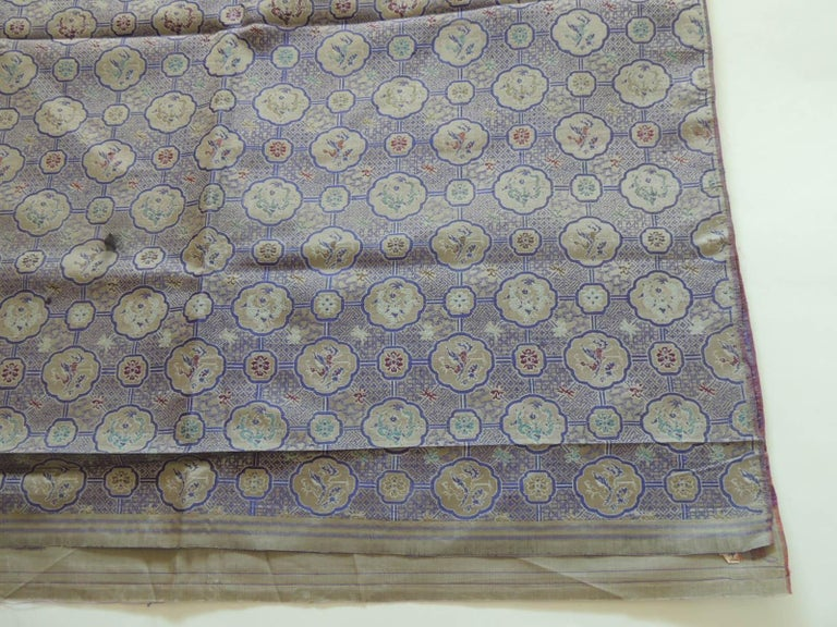 Vintage purple and silver woven silk Obi textile,