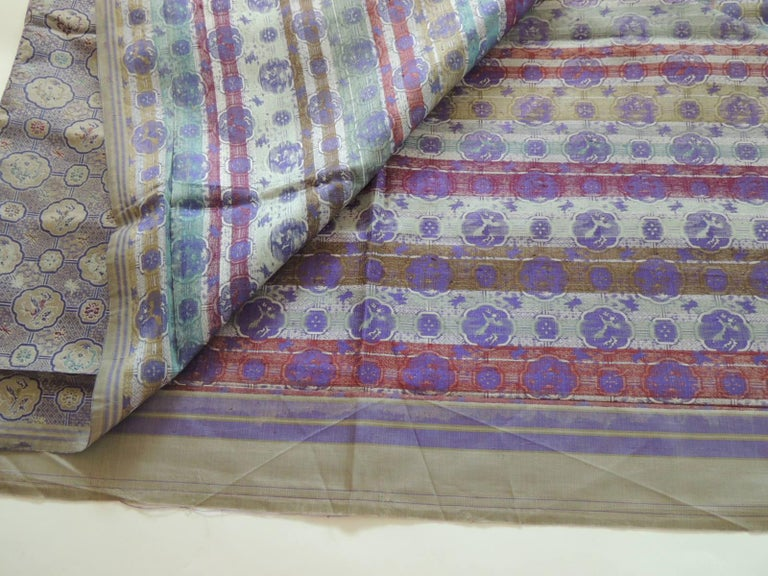 Japonisme Vintage Purple and Silver Woven Silk Obi Textile For Sale