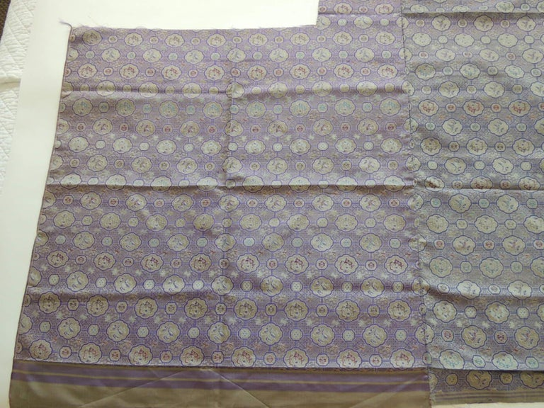 Vintage Purple and Silver Woven Silk Obi Textile In Good Condition For Sale In Wilton Manors, FL