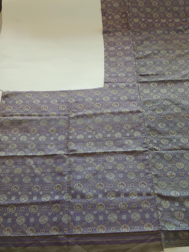 1920s Vintage Purple and Silver Woven Silk Obi Textile For Sale