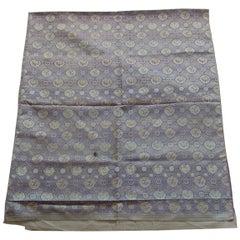 Vintage Purple and Silver Woven Silk Obi Textile