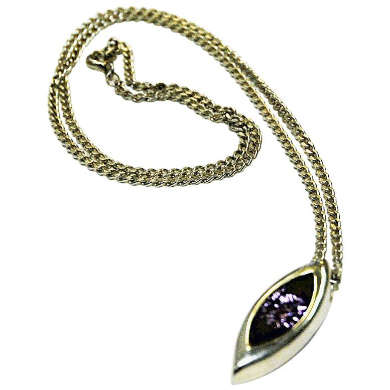 Vintage Purple Brilliant Cut Stone Silver Necklace, 1960s, Sweden