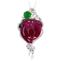 Vintage Purple Carved Tourmaline, Jade, Diamond Pendant, 18 Karat White Gold