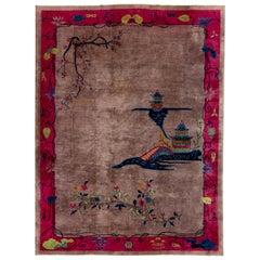 Vintage Purple Chinese Art Deco Wool Rug