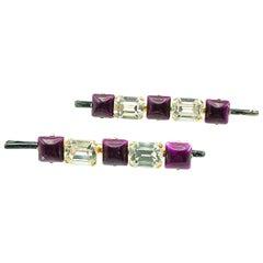 Vintage Purple & Crystal Hair Grips 1970s