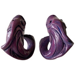 Vintage Purple High Fashion Fish Statement Earrings