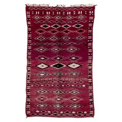 Vintage Purple Moroccan Rug, Black and White Diamond Field and Accents