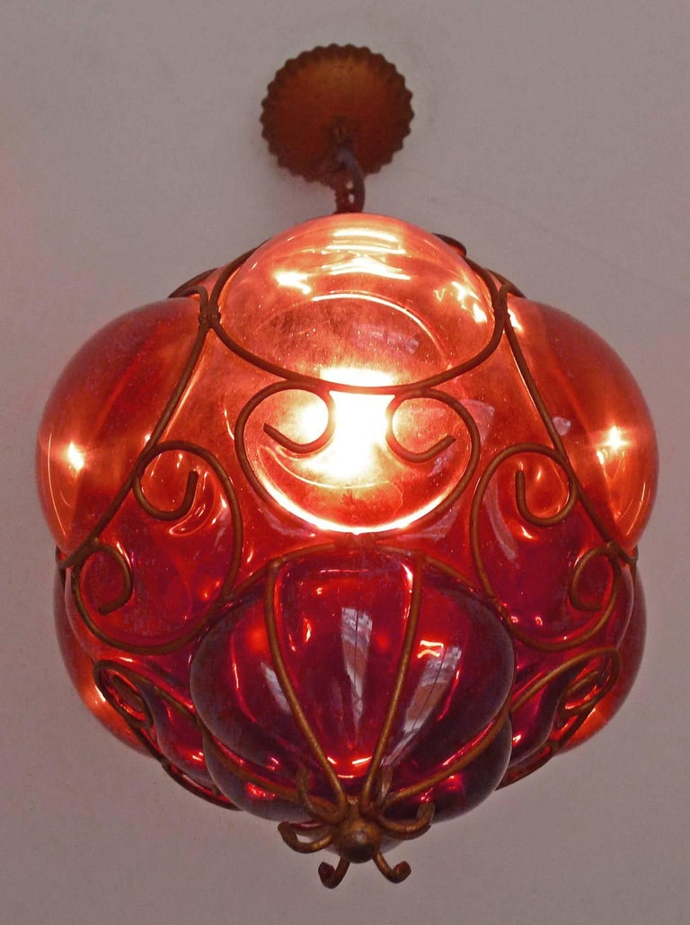 Vintage Purple Murano Handblown Caged Glass Iron Lantern or Ceiling Light 2