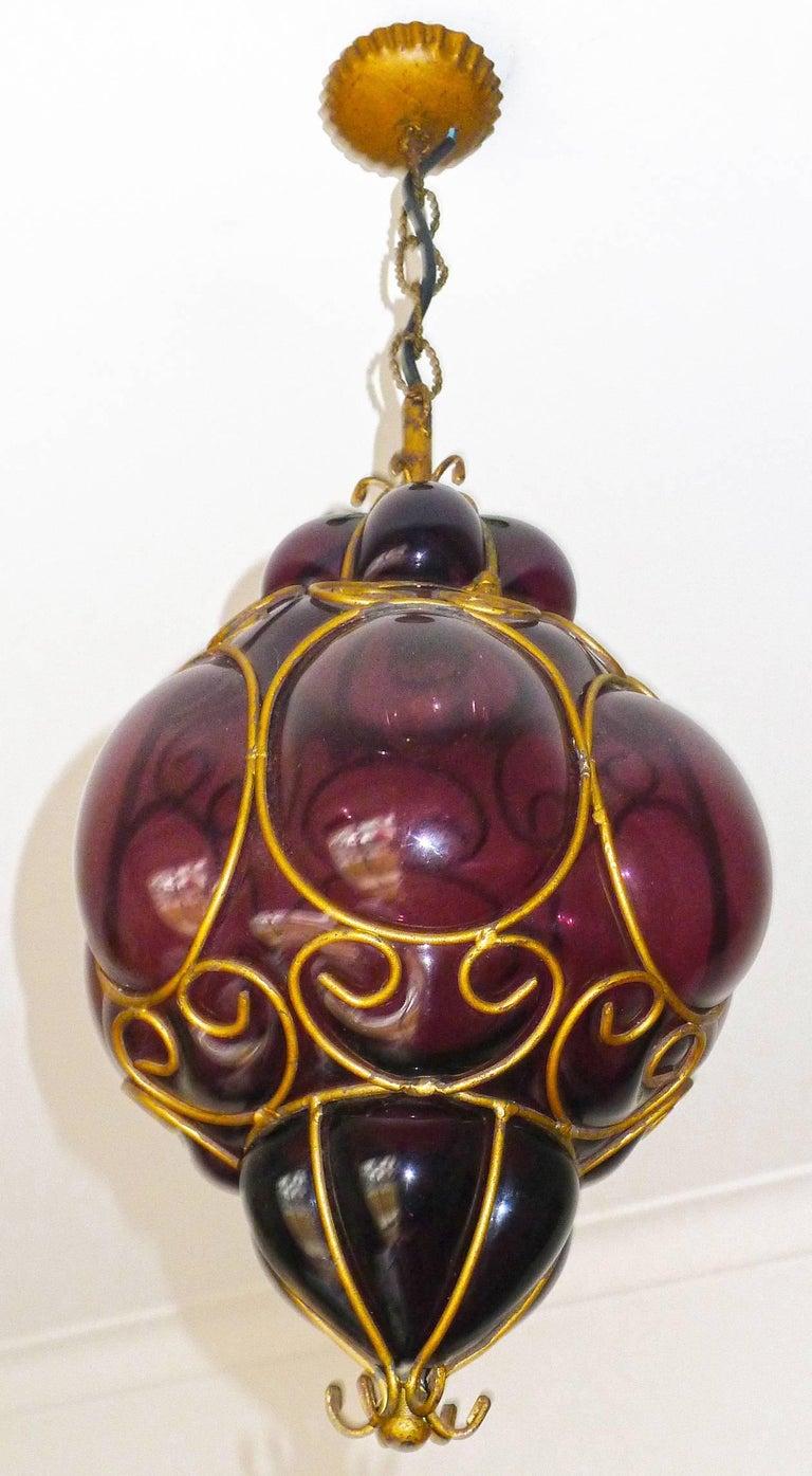 Mid-Century Modern Vintage Purple Murano Handblown Caged Glass Iron Lantern or Ceiling Light