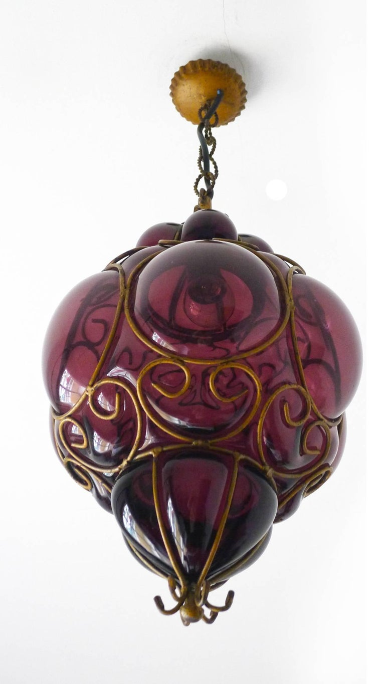 Forged Vintage Purple Murano Handblown Caged Glass Iron Lantern or Ceiling Light