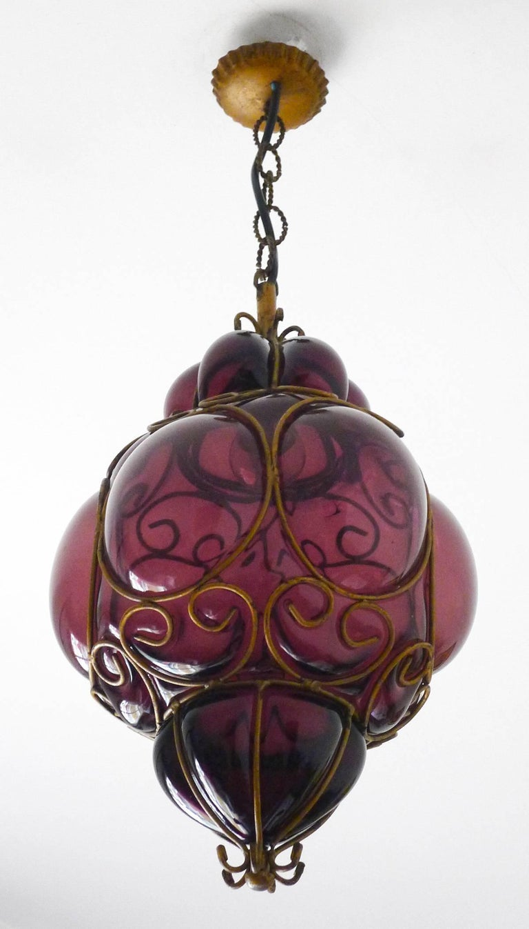 Mid-20th Century Vintage Purple Murano Handblown Caged Glass Iron Lantern or Ceiling Light