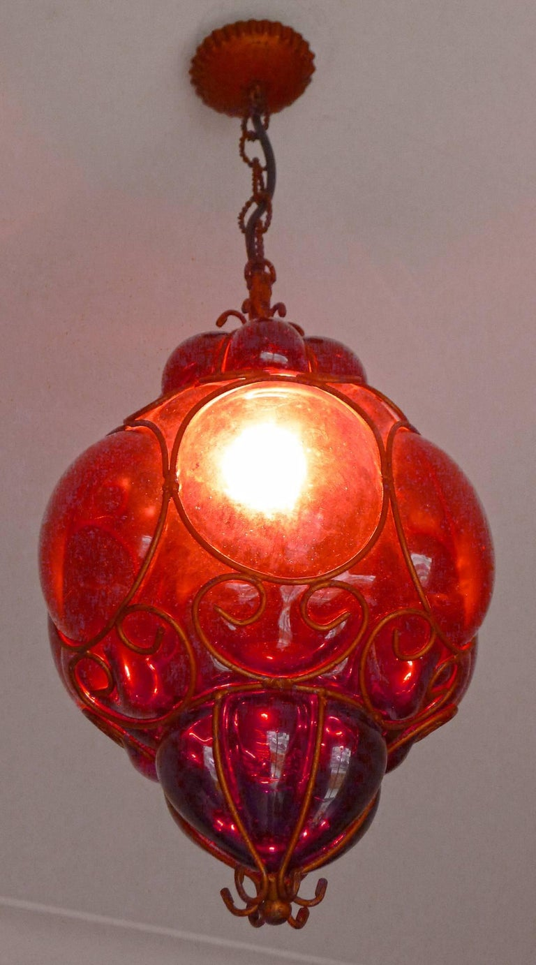 Vintage Purple Murano Handblown Caged Glass Iron Lantern or Ceiling Light 1
