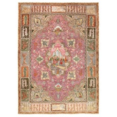 Vintage Purple Persian Pictorial Tabriz Rug. Size: 9 ft. 7 in x 13 ft. 2 in