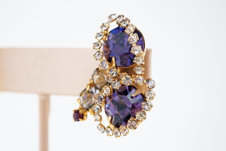 Vintage Purple Rhinestone Clip-On Earrings, circa 1960s For Sale 5