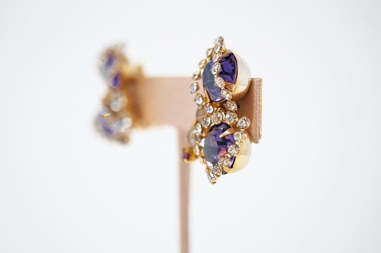 Vintage Purple Rhinestone Clip-On Earrings, circa 1960s For Sale 6