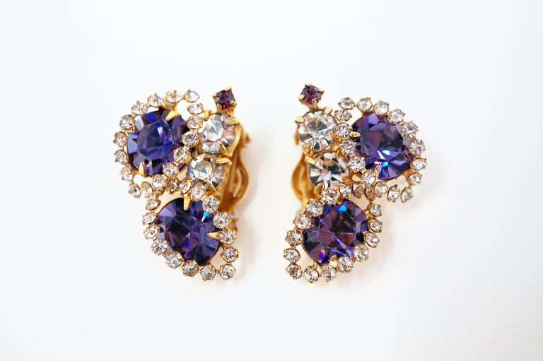 Vintage Purple Rhinestone Clip-On Earrings, circa 1960s For Sale 7