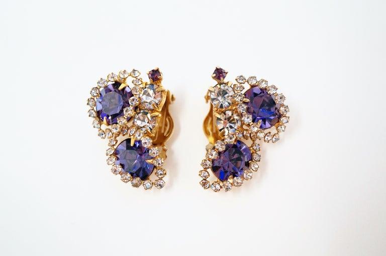 Vintage Purple Rhinestone Clip-On Earrings, circa 1960s For Sale 8