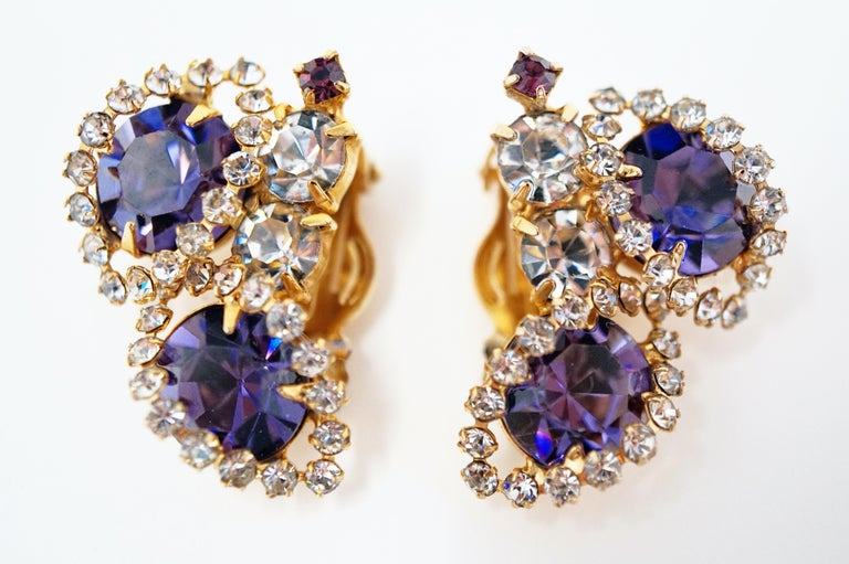 Modern Vintage Purple Rhinestone Clip-On Earrings, circa 1960s For Sale
