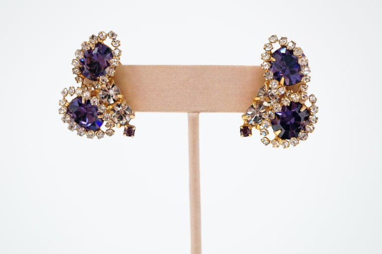 Vintage Purple Rhinestone Clip-On Earrings, circa 1960s For Sale 1