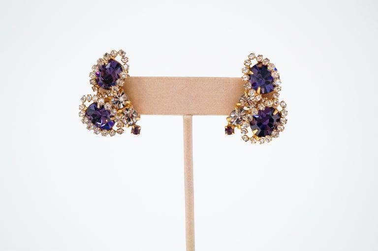 Vintage Purple Rhinestone Clip-On Earrings, circa 1960s For Sale 2