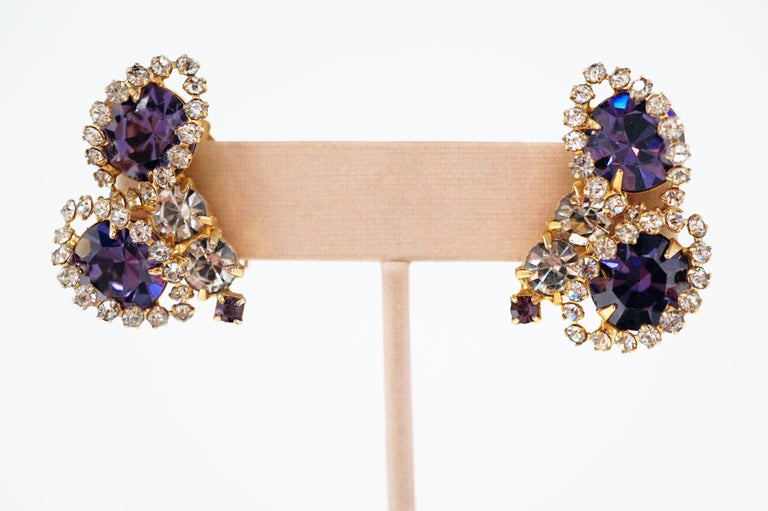 Vintage Purple Rhinestone Clip-On Earrings, circa 1960s For Sale 3