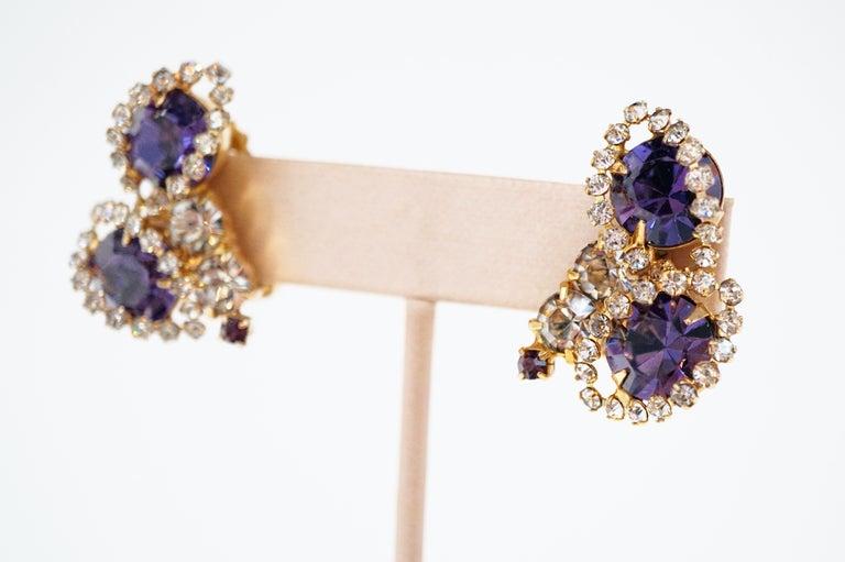 Vintage Purple Rhinestone Clip-On Earrings, circa 1960s For Sale 4