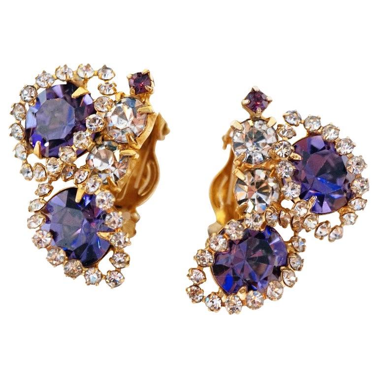 Vintage Purple Rhinestone Clip-On Earrings, circa 1960s For Sale